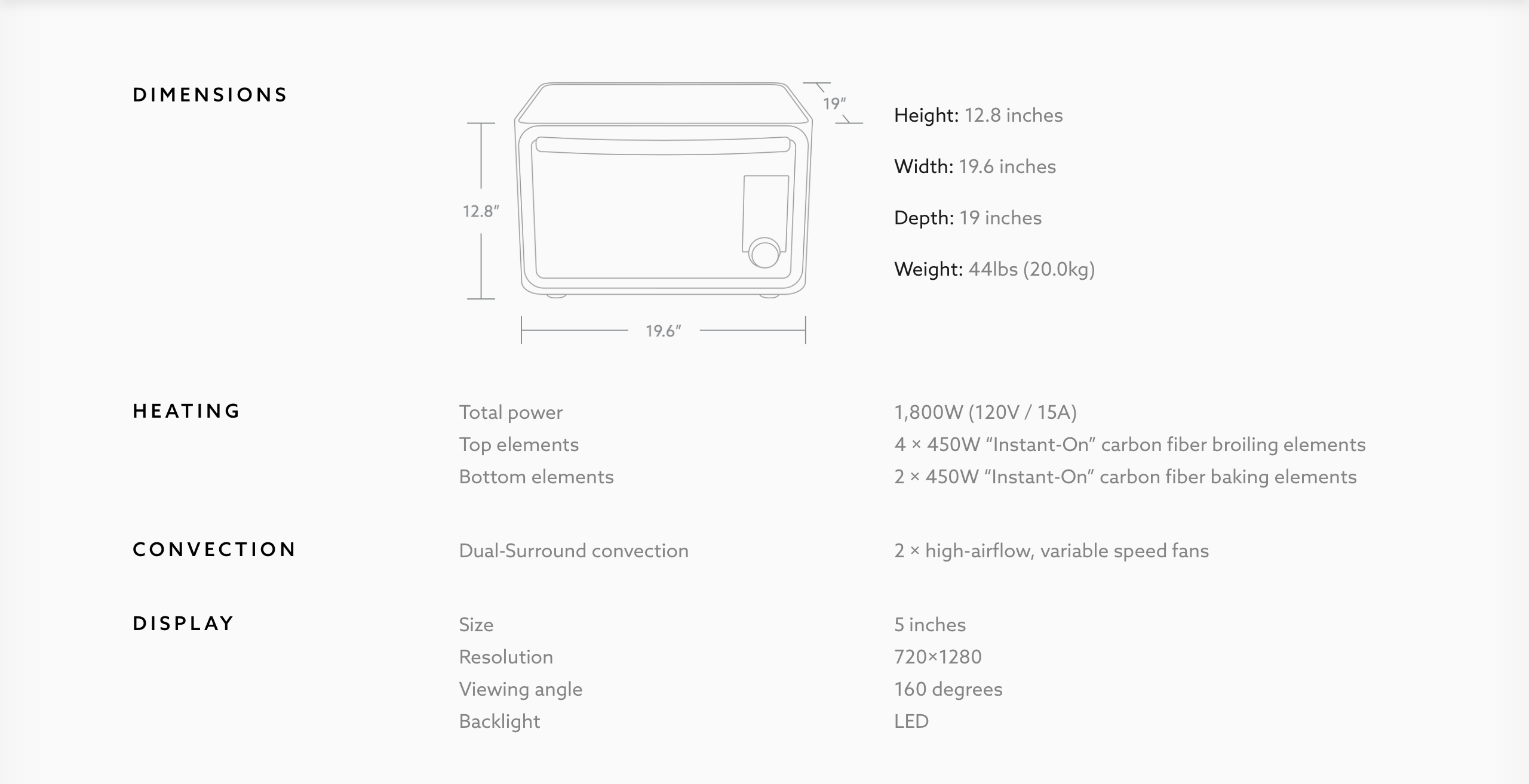 June Oven specs and dimensions
